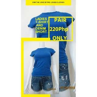 Pre-loved T-shirt and Denim short - PAIR