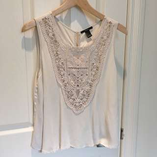 F21 Lace Crepe Top