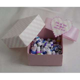Mothers Birthday - 52 Miniature Scroll Gift Box - Pink Candy