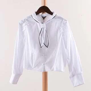 2016韓版百搭純色襯衣新款單排扣長袖襯衫