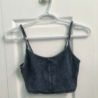Garage Denim Spaghetti Crop Top
