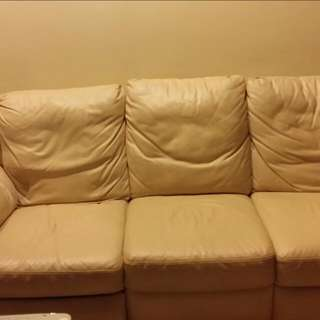 luxurious 3 seater champaign coloured pure leather Couch. giving it away