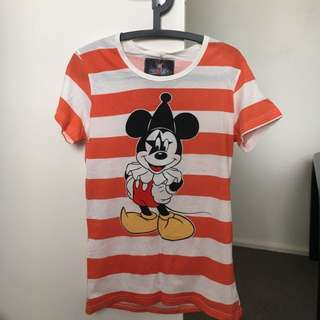 Micky Mouse T-shirt With Orange Strips