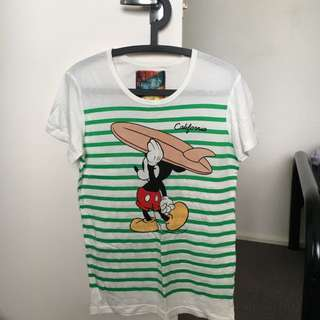Micky Mouse T-shirt With Green Strips