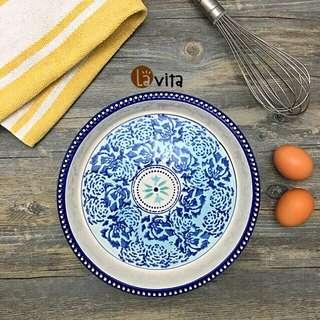 Blue Lily 波蘭瓷 - 手繪浮雕平盤/烤盤