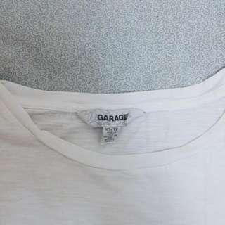 Garage White Boatneck Half-sleeve