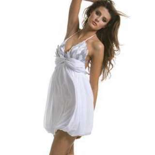 Gasp White Leaf Silk Coctail Dress