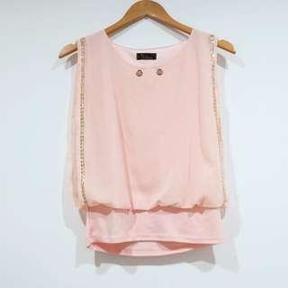 Atasan Pink Peach Tanpa Lengan - Top