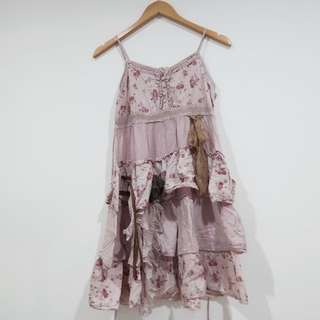 Vintage Floral Dress Purple - Terusan Bunga