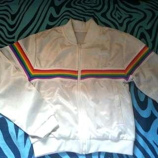 Bomber Jacket White Rainbow