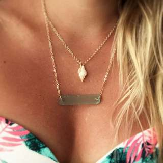 Layered Seaglass Bar And Seashell Necklace