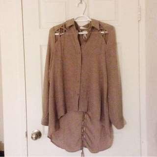 Chiffon blouse with cutouts
