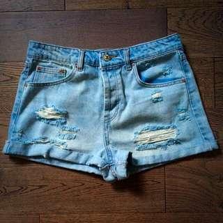 High-Waisted Light Denim Ripped Shorts