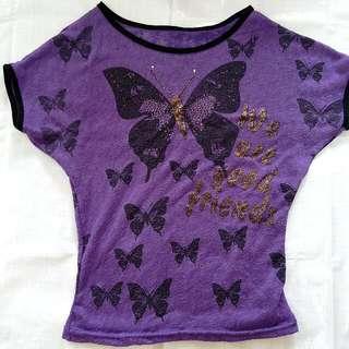 紫棉紗蝴蝶夏衣