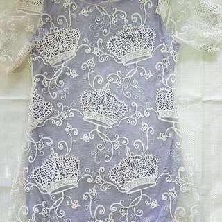 皇冠蕾絲藕紫色長版洋裝