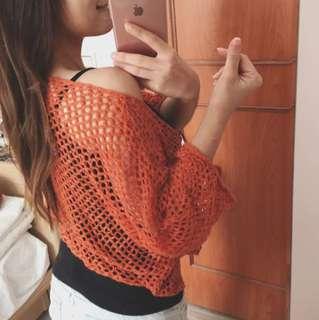 🚚 橘色洞洞針織罩衫(日常穿或搭泳裝)