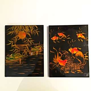 2x Vietnamese Paintings On Lacquered Wood