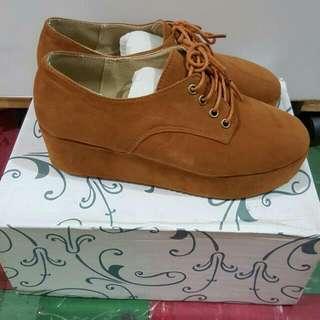 駝色厚底鞋 23