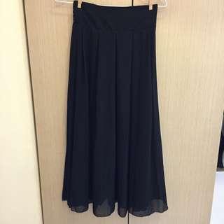 保留-韓風黑色百摺雪紡長裙