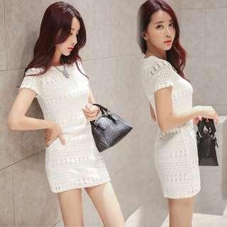 White Crochet Dress (S)