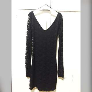 Long Sleeves Lace Black Forever21 Dress