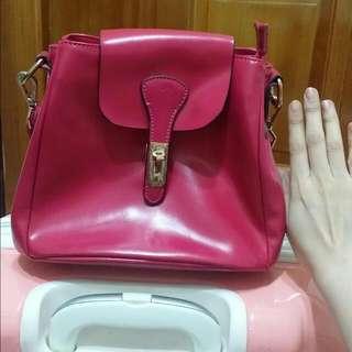桃紅色 真皮包包 M2 morom