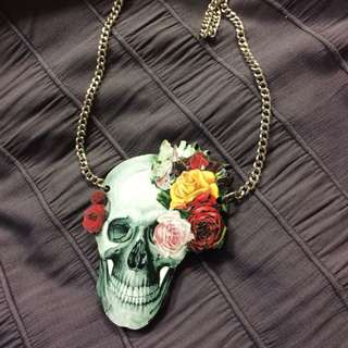 Skull Necklace On Long Chain