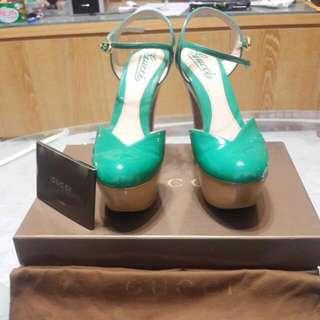 🚚 再降!!湖水綠GUCCI木跟涼鞋~尺寸37