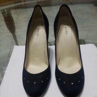 🚚 再降!!MARC JACOBS麻質水鑽深藍色高跟鞋~尺寸7.5
