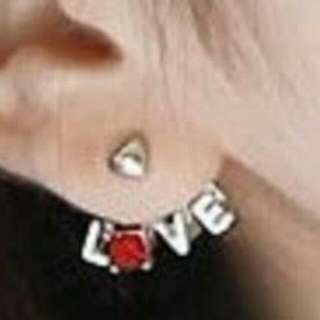 Love Heart Earrings with Red stone Ear Jacket