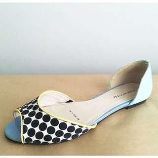 Red Herring Peep-Toe Flat Sandals in Polka Dot and Mint, Sz EUR 38
