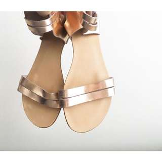 Marks & Spencer Flat Leather Sandals in Rose Gold, Sz 8