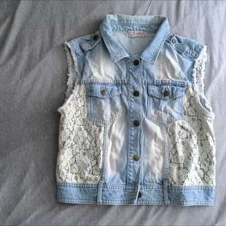 Just G! Sleeveless Denim Vest with Lace