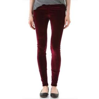Garage Burgundy Velvet Leggings