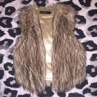 Brown/Nude Fur Vest