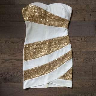 White & Gold Mini Dress