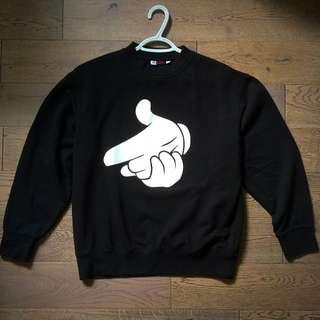 Black Crewneck With HandGun Design