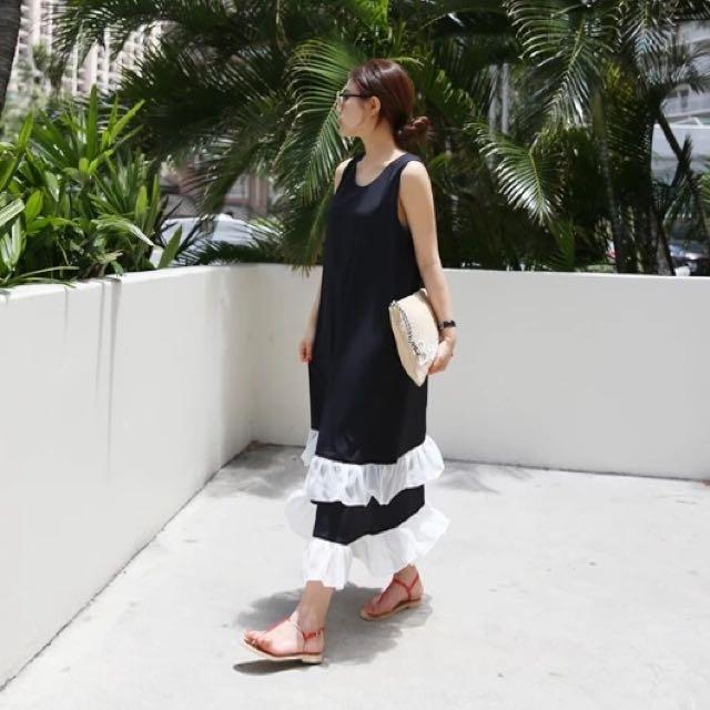 韓國東大門代購多層荷葉邊蛋糕裙下擺拼接無袖連衣裙連身裙孕婦長洋裝漢娜妞大饅大力