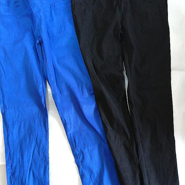 黑ˋ藍亮絲直筒褲