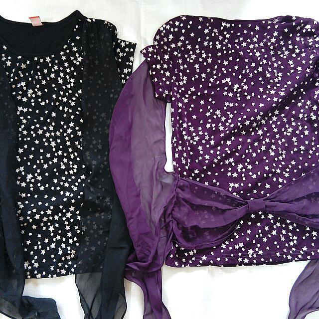黑色紫色短袖星星衣