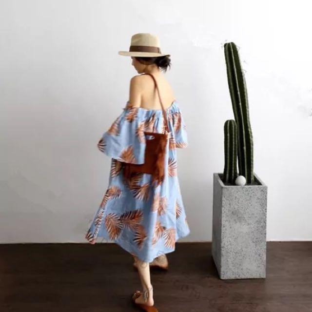 韓國東大門度假風 露肩一字肩寬棕櫚葉葉子圖案印花連衣裙連身裙洋裝一字領