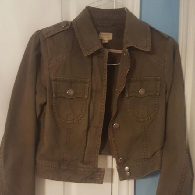 American Eagle Army Green Denim Jacket