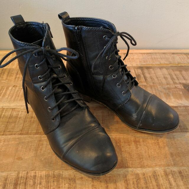 Black Lace Up Boots - Size 9