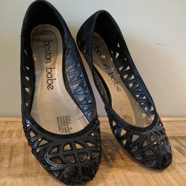 Black Sequin Flats - Size 40/9