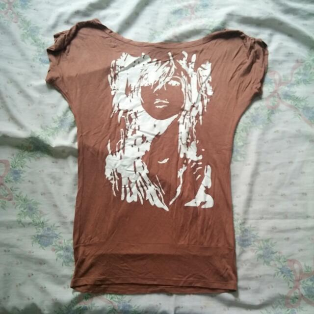 Brown Printed Top