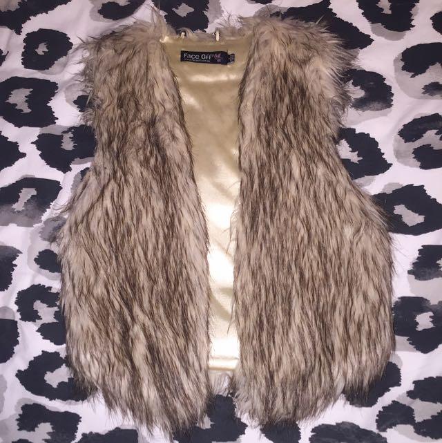 Brown/Nude Fur Vest