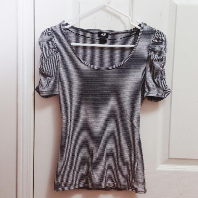 H&M B&W Striped Ruffled Shirt