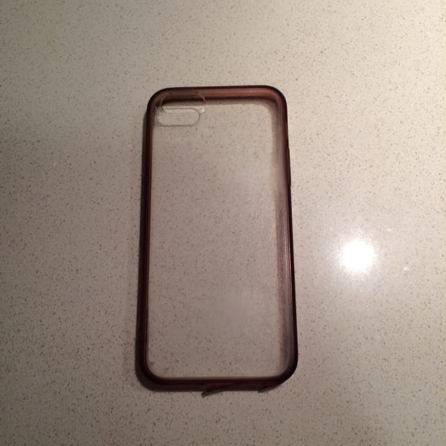 Clear Iphone 5/5s Case With Pink-peach Color Side