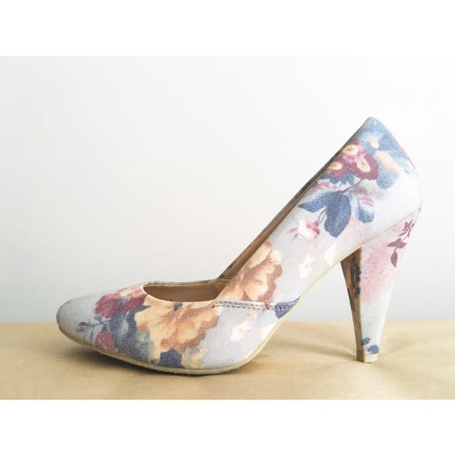 Forever 21 Women's Blue Floral Fun Pumps, Sz 8