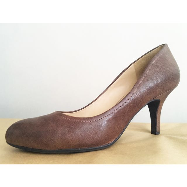 GEOX Respira Coffee Brown, Round Toe Pumps, Sz 8.5